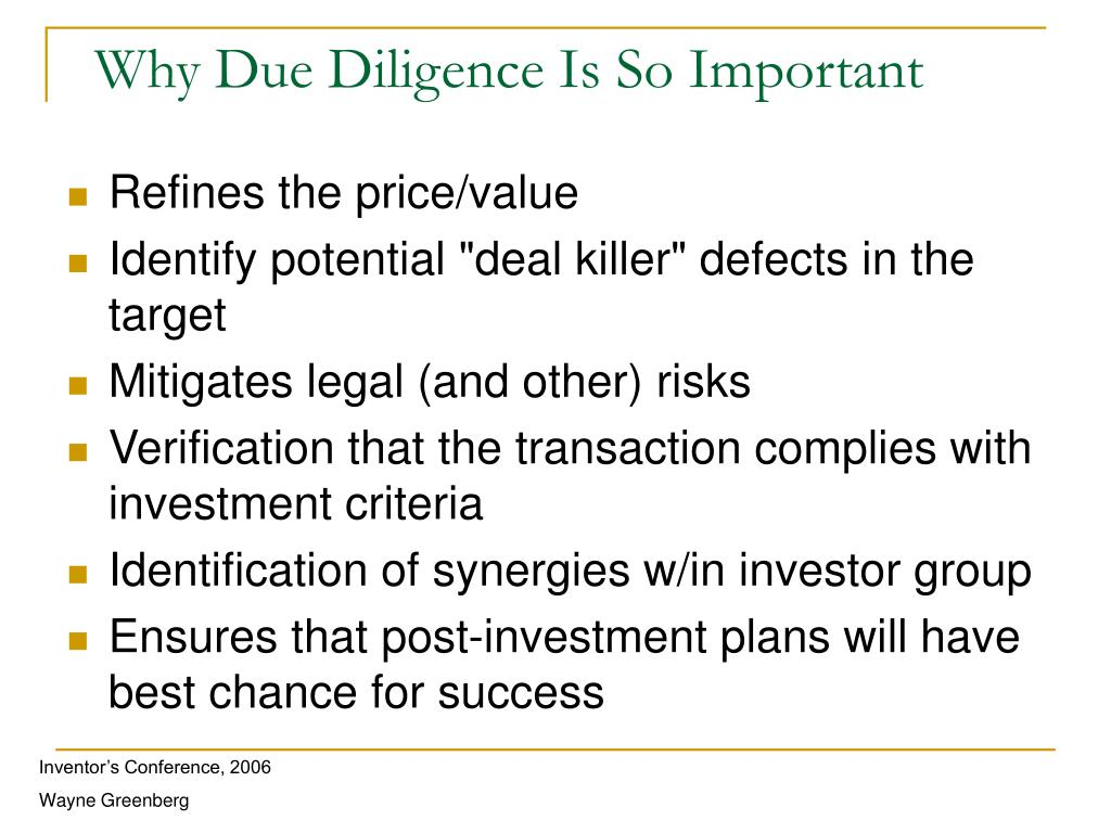 Why Due Diligence Is So Important