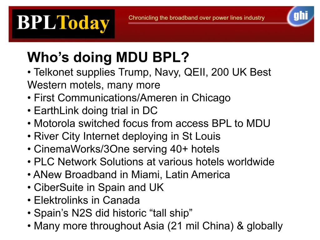 Who's doing MDU BPL?