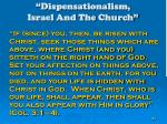 dispensationalism israel and the church157