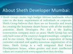 about sheth developer mumbai