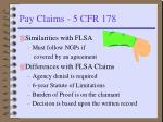 pay claims 5 cfr 178
