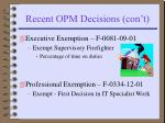 recent opm decisions con t