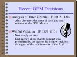 recent opm decisions