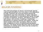major finding