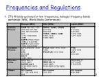 frequencies and r egulations