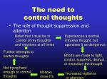 the need to control thoughts