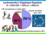 lyubomirsky s happiness equation h 50 gsp 10 lc 40 ia