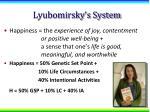 lyubomirsky s system