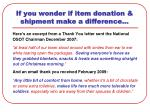 if you wonder if item donation shipment make a difference