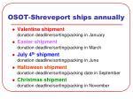 osot shreveport ships annually