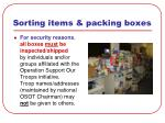 sorting items packing boxes