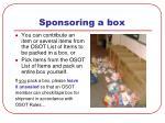 sponsoring a box
