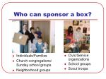 who can sponsor a box
