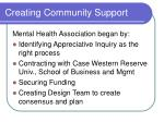 creating community support