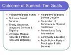 outcome of summit ten goals