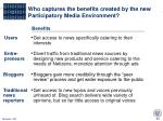 who captures the benefits created by the new participatory media environment