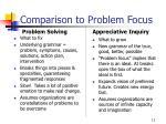 comparison to problem focus