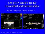 cw of tv and pv for rv myocardial performance index