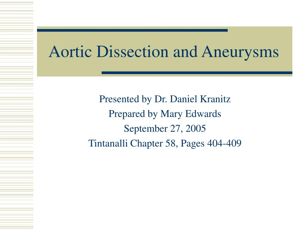 aortic dissection and aneurysms l.