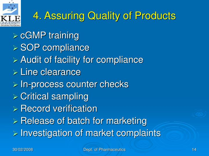 4. Assuring Quality of Products