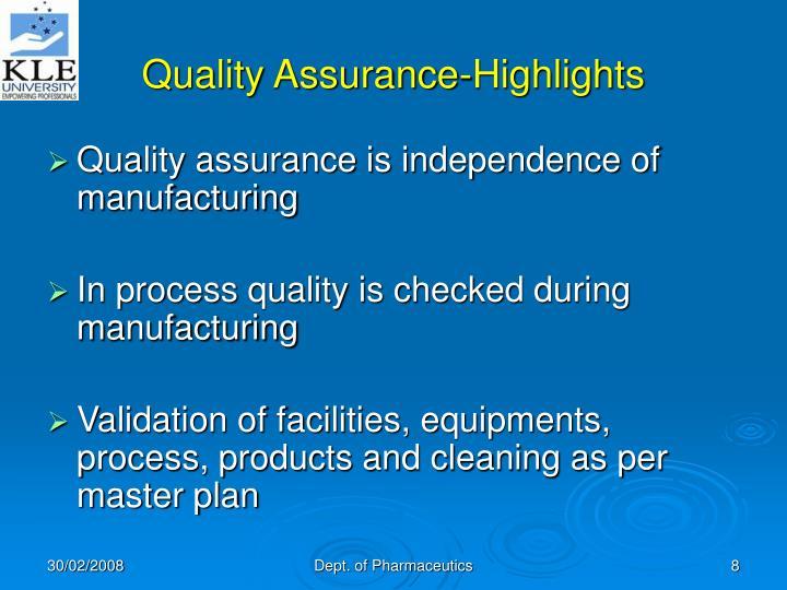 Quality Assurance-Highlights