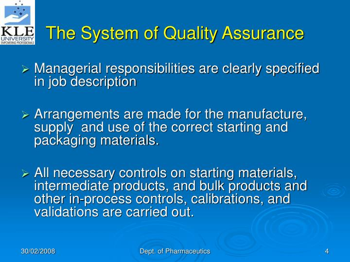 The System of Quality Assurance