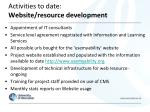 activities to date website resource development