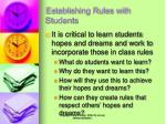 establishing rules with students