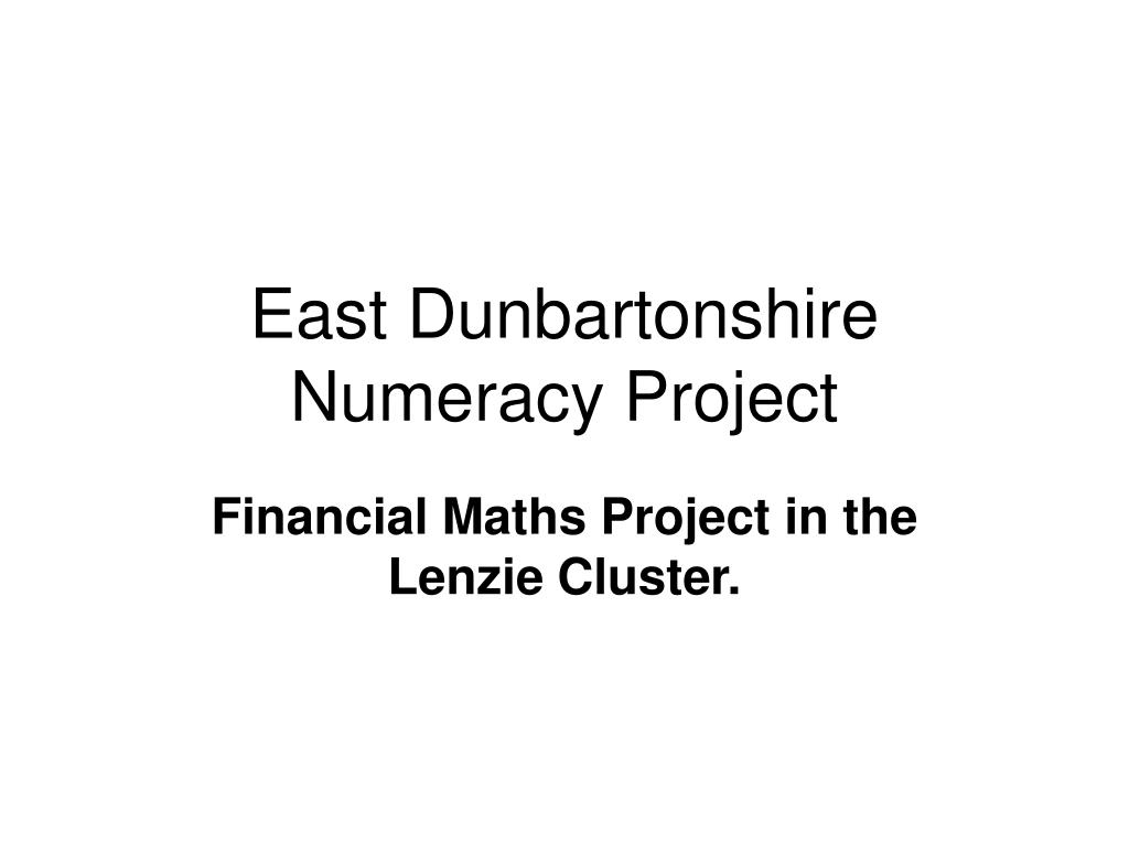 east dunbartonshire numeracy project l.