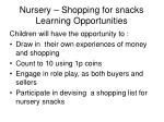 nursery shopping for snacks learning opportunities