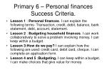 primary 6 personal finances success criteria
