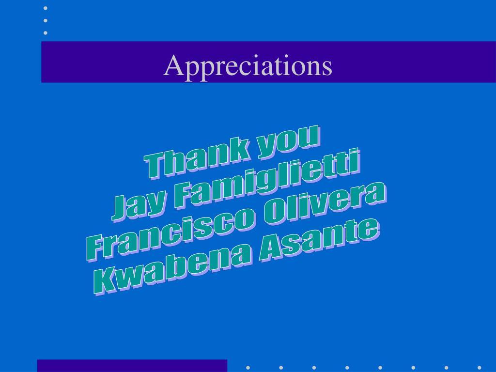Appreciations