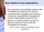 basic beliefs of lean organizations