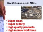 new united motors in 1986