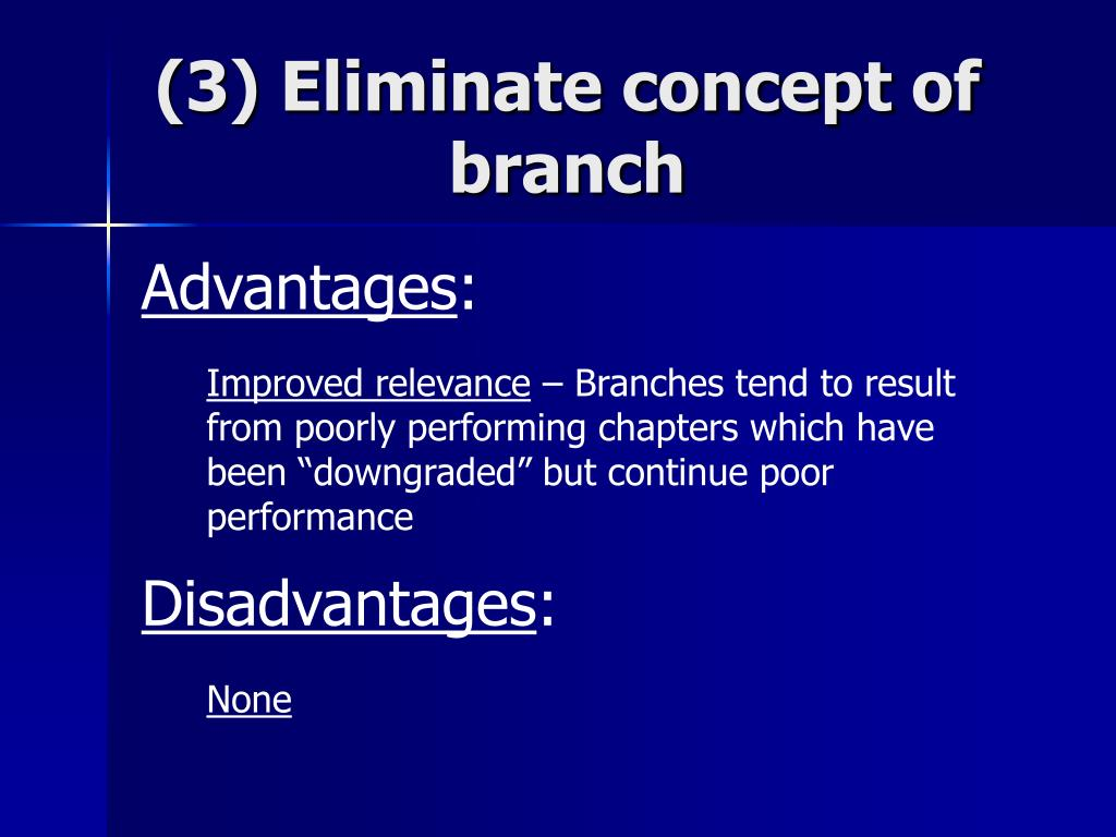 (3) Eliminate concept of branch