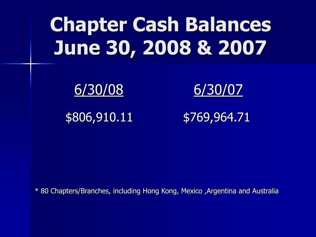Chapter Cash Balances June 30, 2008 & 2007