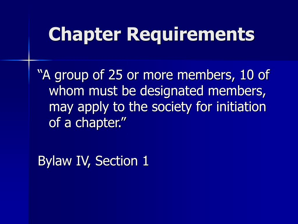 Chapter Requirements