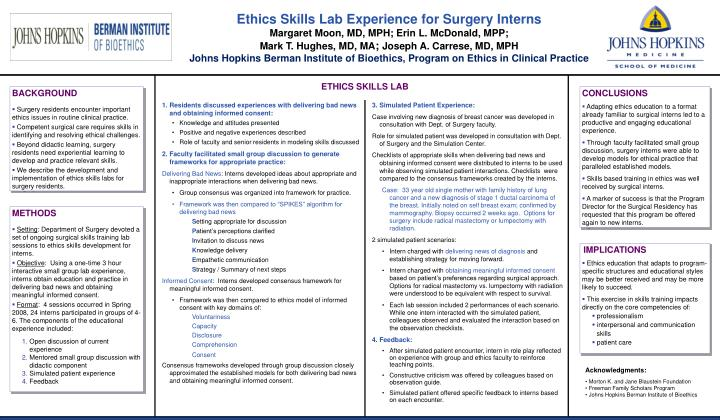 Ethics Skills Lab Experience for Surgery Interns