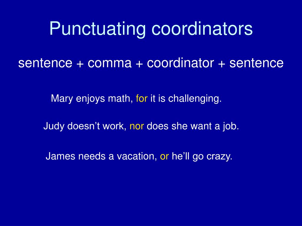 Punctuating coordinators