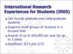 international research experiences for students ires
