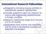 international research fellowships