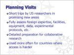 planning visits