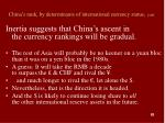 china s rank by determinants of international currency status cont83