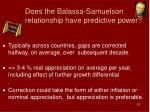does the balassa samuelson relationship have predictive power
