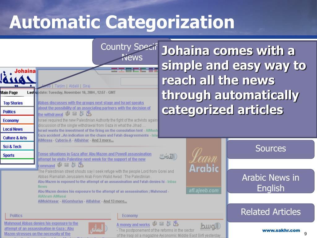 Automatic Categorization