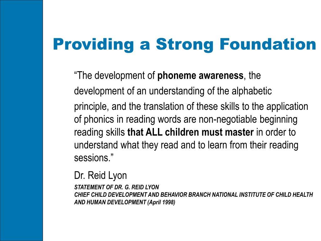 Providing a Strong Foundation