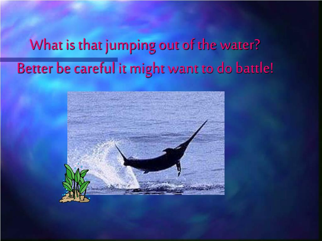 What is that jumping out of the water? Better be careful it might want to do battle!