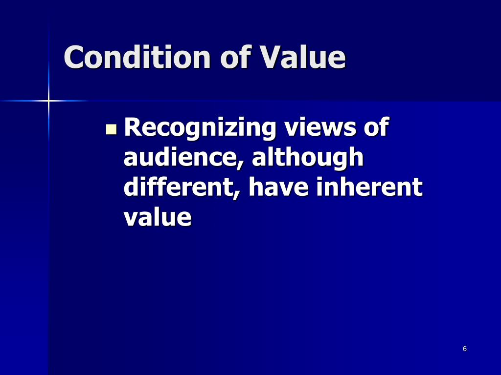 Condition of Value