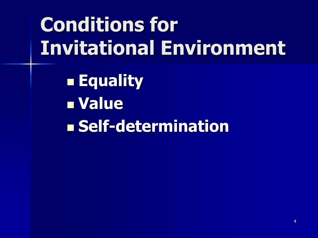Conditions for Invitational Environment