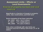 assessment limits effects on local governments